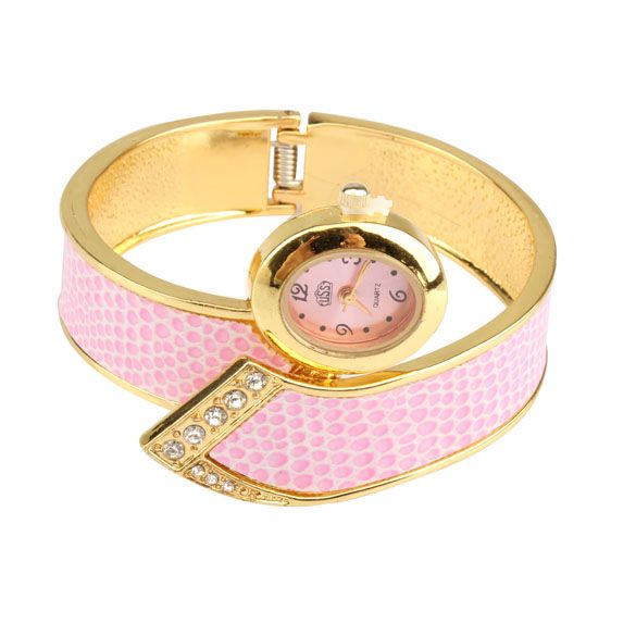 nice Pink Ladies Wrist Watches Fashionable Bracelet Alloy Band Unique Style Wrist Watch VHI LL