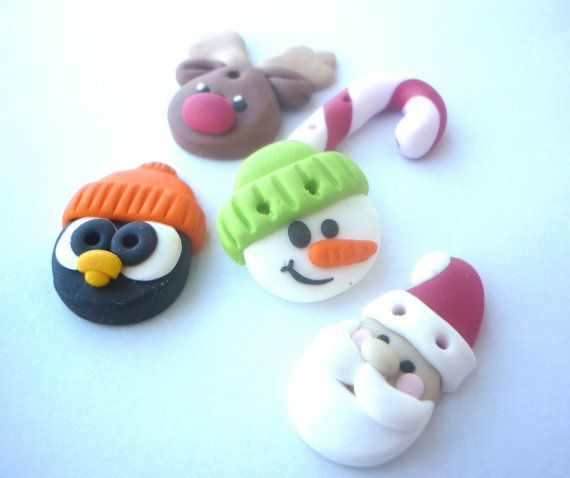 Christmas buttons- snowman-santa claus-penguin-candy cane-reindeer shaped buttons handmade with polymer clay