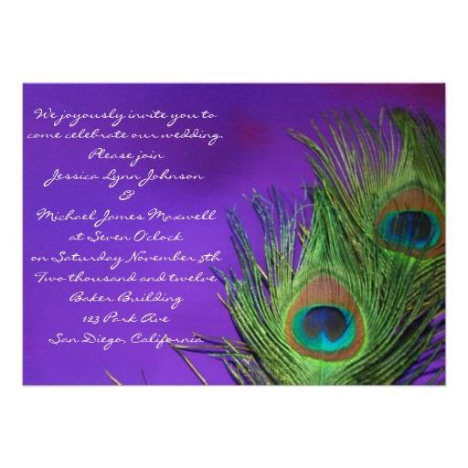 Purple Foil Peacock Wedding Invitations