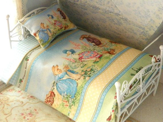 Dollhouse Miniature Peter Rabbit And Friends Bedding Bed