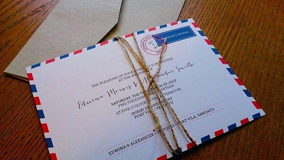 Air Mail Wedding Invitations + Envelopes   50 sets on Etsy, $237.50 AUD
