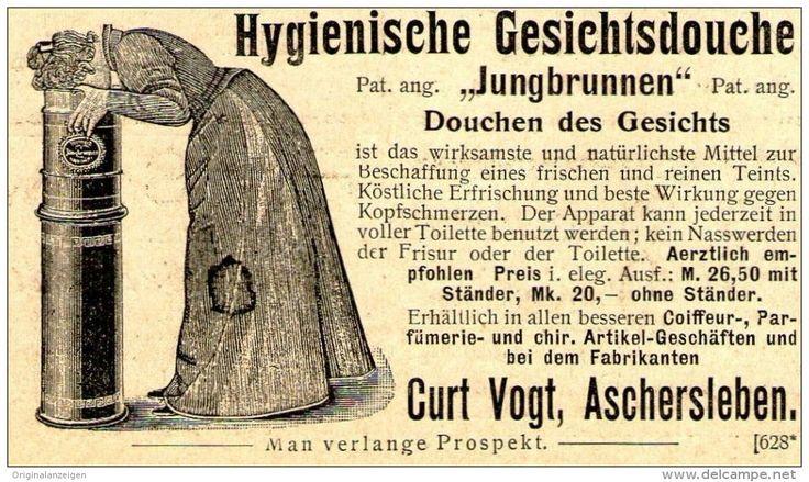 "Original-Werbung/ Anzeige 1899 - GESICHTSDOUCHE ""JUNGBRUNNEN"" / CURT VOGT - ASCHERSLEBEN ca.  80 x 50 mm"