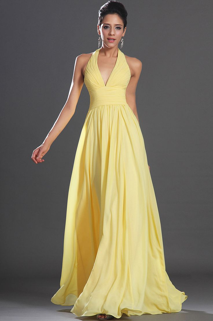 New Arrivals 2014 Elegant A-Line Yellow Chiffon Long Formal Gowns Open Back Prom Dresses $119.99