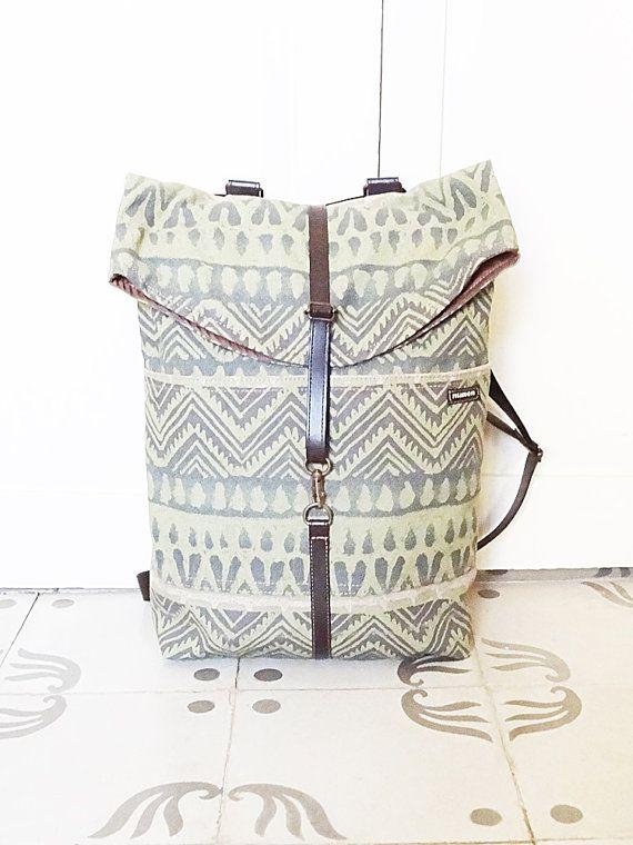 Vegan Backpack Rucksack grün Navajo Polster-4 von bagswithhistory