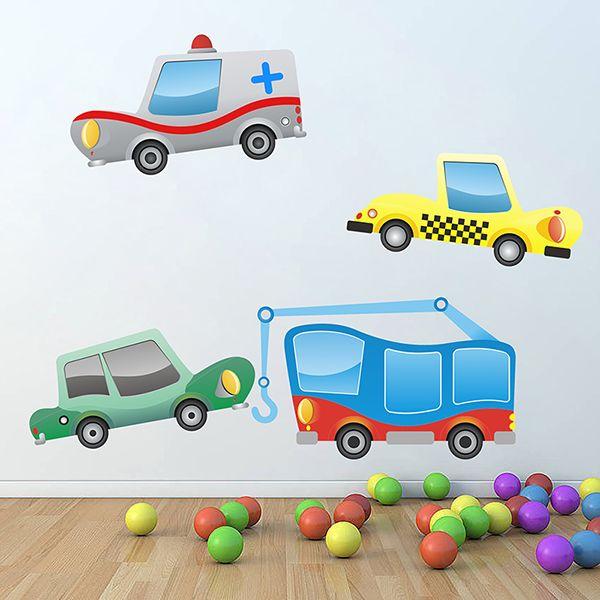 Stickers pour enfants: voiture avec ambulancia, taxi et grue avec voiture. Kit Stickers pour enfants. #stickersmuraux #decoration #motifs #mosaïque #voitures #WebStickersMuraux