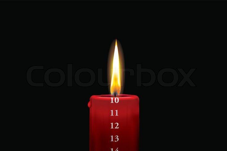 Rødt kalenderlys - 10. december | Vektor | Colourbox on Colourbox