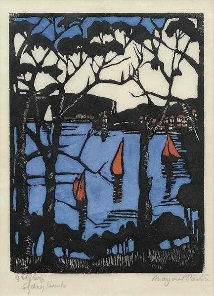 Sydney Heads [1] 1925 Hand coloured woodcut