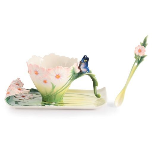 Butterfly Cup Saucer Spoon Set | Franz Collection | Porcelain