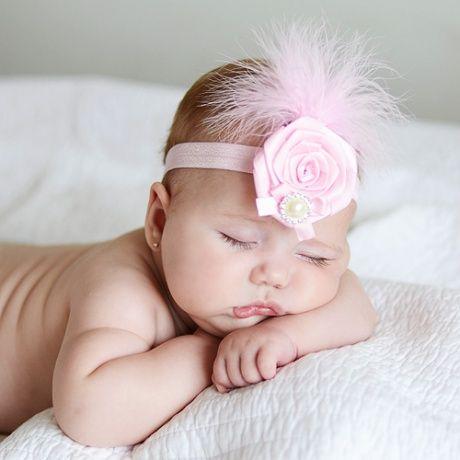 tocado para bebs con plumas y perla divertido adornos para la cabeza de un recin