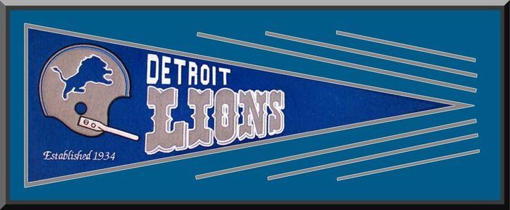 Detroit Lions framed banner, Detroit Lions heritage banners, Detroit Lions team logos patches, Detroit Lions throwback pennant