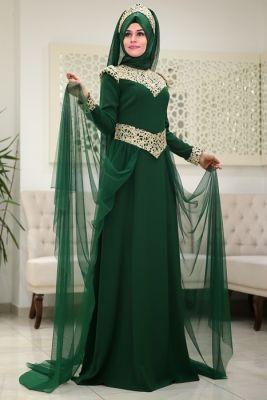 Som Fashion Zümrüt Neslişah Tesettür Abiye Elbise