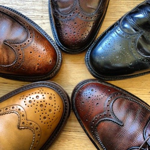 Brogues. There are few things that better represent a true gentleman than his choice in wingtips.    Clockwise from bottom left: Tricker's Stow Boot, Florsheim Royal Imperial Scotch Grain, Florsheim Royal Imperial Shell Cordovan, Royal Tweed by Church's Black Calf, Florsheim Royal Imperial.