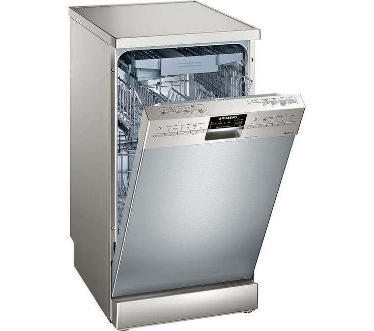 SIEMENS iQ500 SR26T891GB Slimline Dishwasher - Silver, Silver: Perfect for smaller flats, starter homes and… #Electrical #HomeAppliances