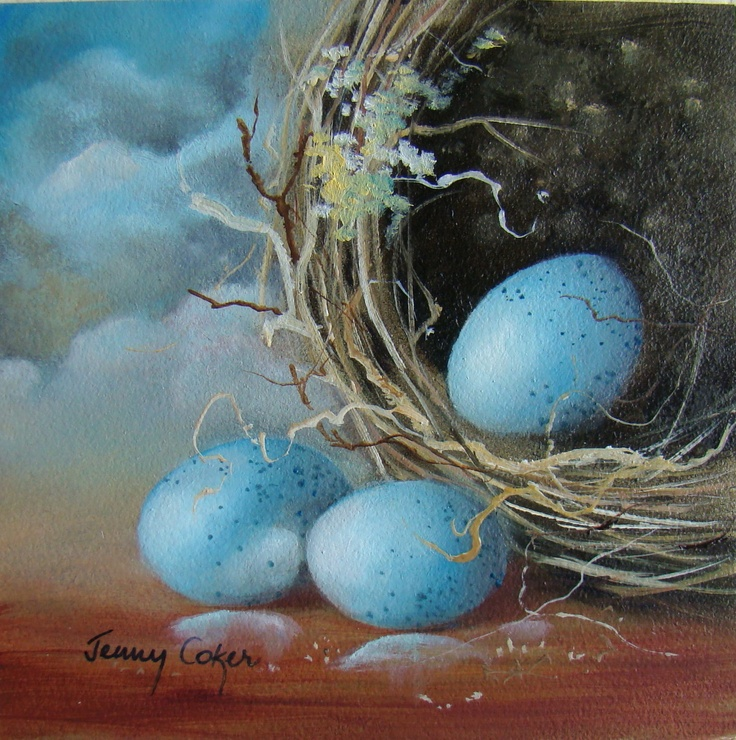 Blue Eggs 100 x 100mm www.jennycoker.com