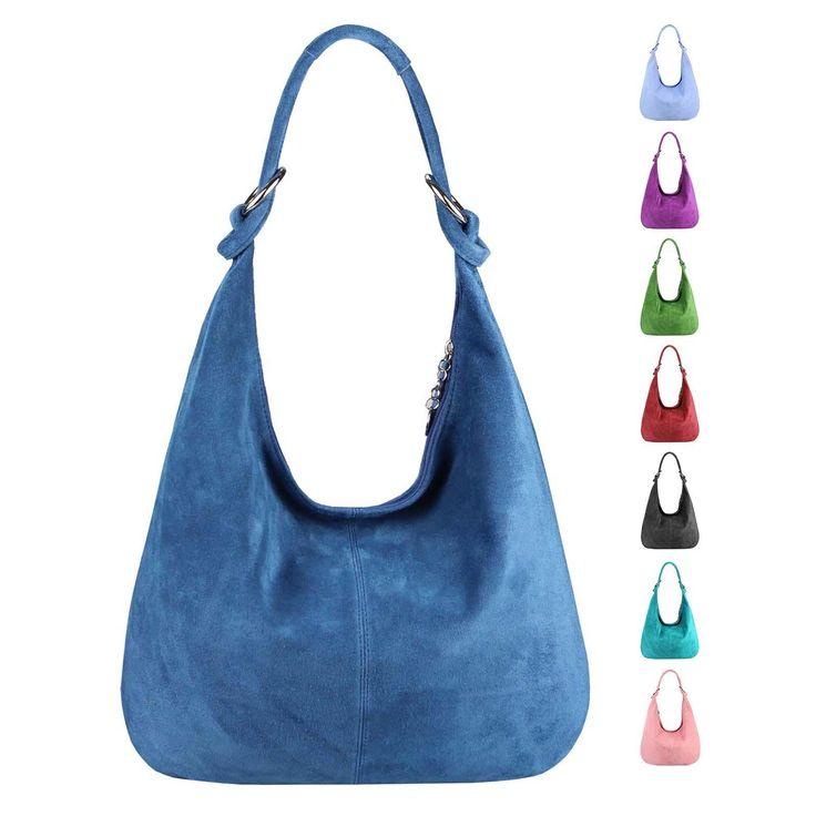 Made in Italy Damen XXL Ledertasche Wildleder Shopper Tasche Schultertasche Umhängetasche Hobo-Bag Beuteltasche