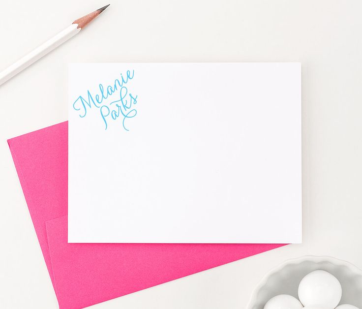 Simple Calligraphy Personalized Stationery, custom stationary cards - Modern Pink Paper