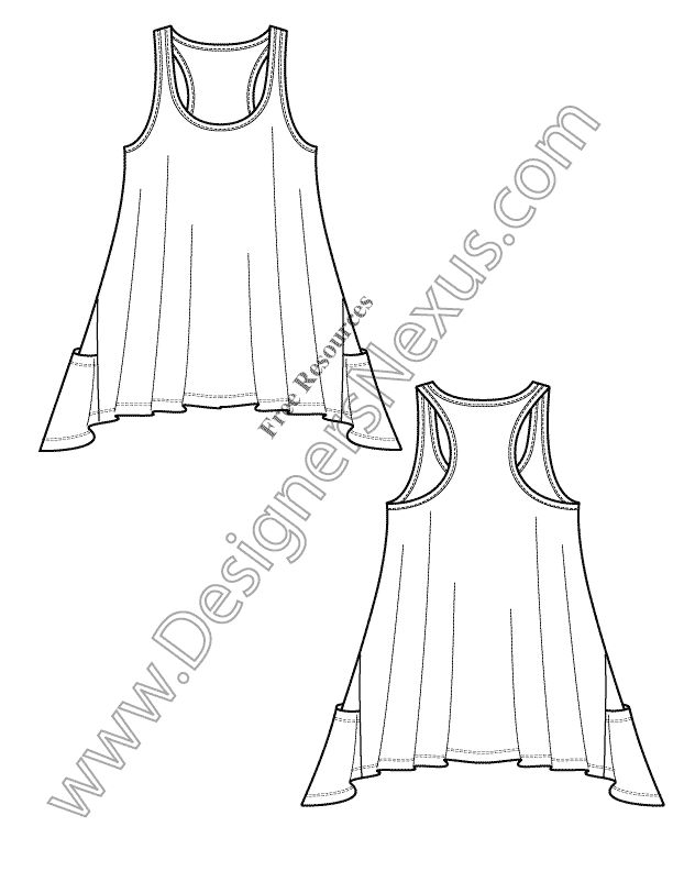 Downloads this free Illustrator knit fashion flat sketch template of a racerback tunic tank with a hi-lo hem. This free Illustrator fashion template can be downloaded as an Adobe Illustrator flat drawing or as a printable flat sketch template for hand sketched fashion technical drawing. Featured Fashion Download –Limited Time Only: Download without membership! Click download …