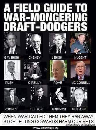 War-mongering draft-dodgers will NOT get my vote