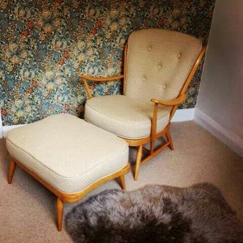 Ercol Armchair And Stool Reupholstered By Eclectic Chair Upholstery, Leeds.