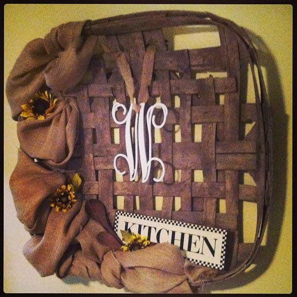 Tobacco basket my family used years ago ---repurposed as my favorite kitchen decoration :-) LOVE!!!!
