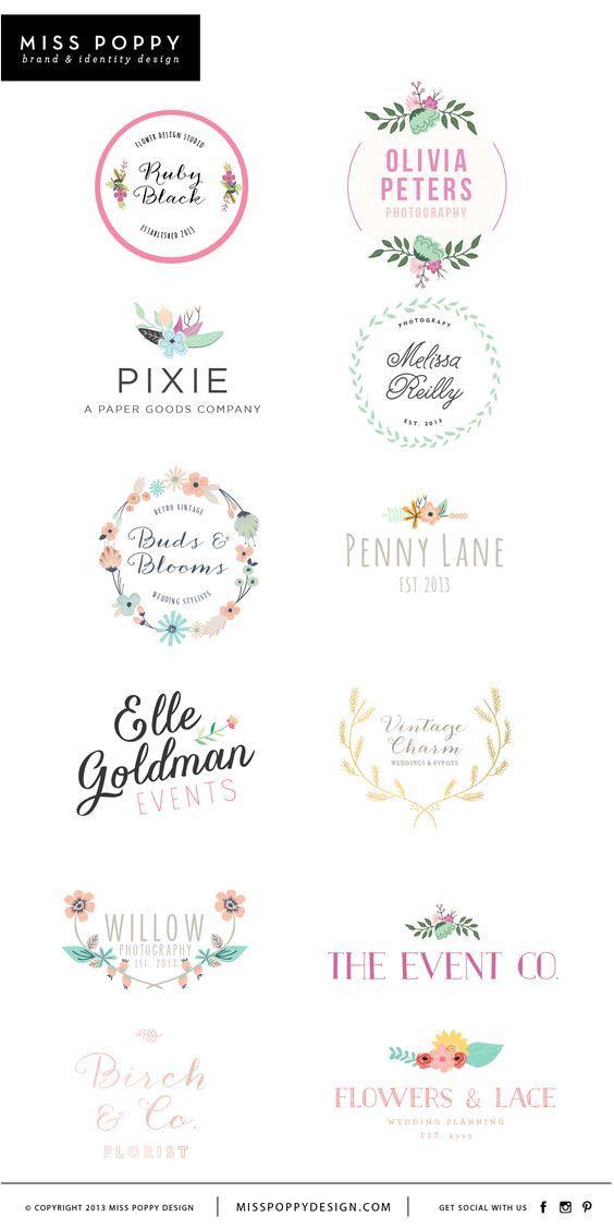 Miss Poppy Design- www.misspoppydesign.com Boutique Pre Made Logos / Graphic Design / Branding / Photographer Logo / Event / Florist / Floral: