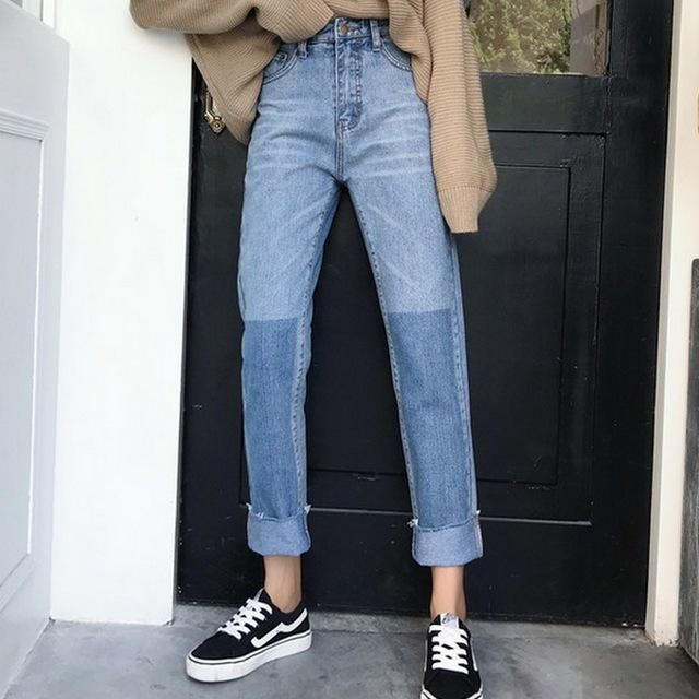 Two Tone High Waisted Jeans