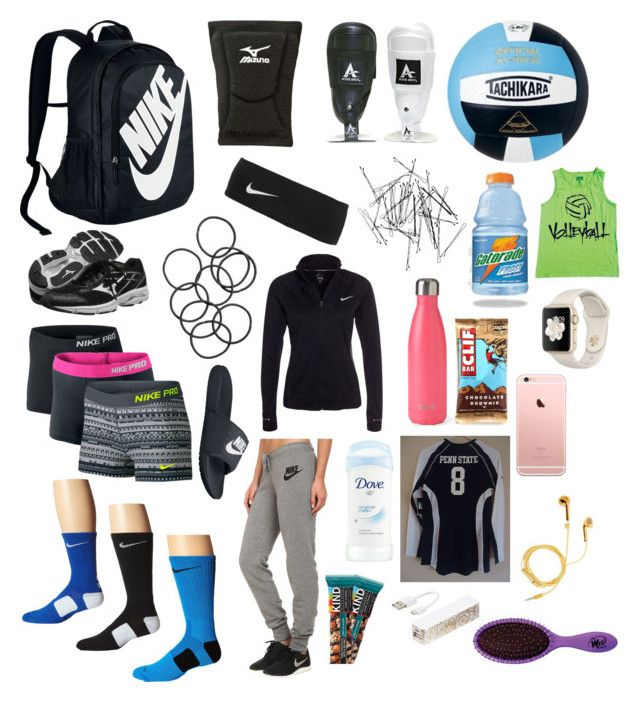 """What's in my volleyball bag"" by southernannabelle ❤ liked on Polyvore featuring NIKE, Mizuno, Monki, H&M, S'well, Triple C Designs, PhunkeeTree and The Wet Brush"