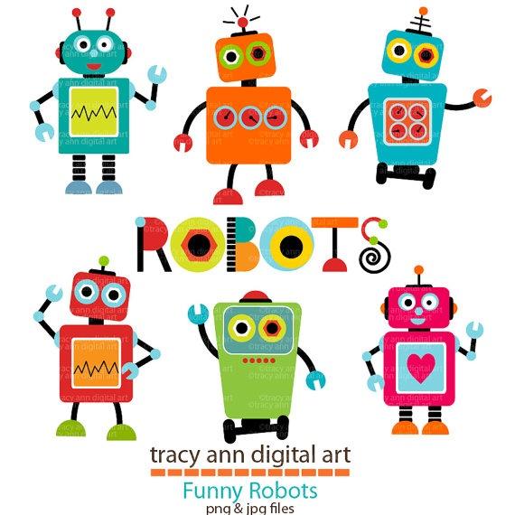 Robot Clip Art Set 1 by TracyAnnDigitalArt on Etsy, $7.95
