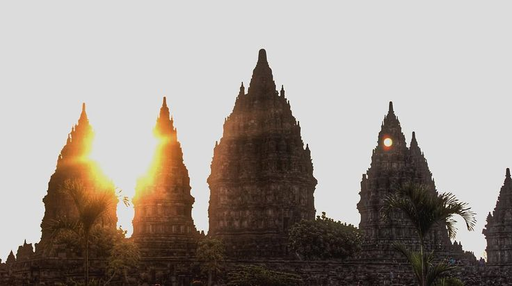 Prambanan Temple, Indonesia . Looking back at this picture, makes me remember the warm weather in Prambanan Temple while the sun is slowly disappearing.