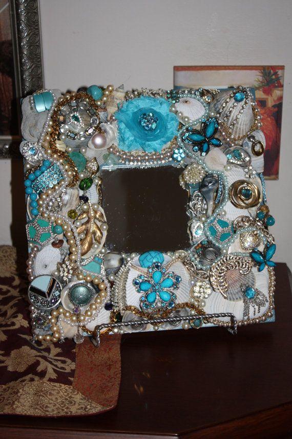 Sea Shell Jewelry  Blue Mosaic Mirror Ocean by SeaForYourself, $79.00