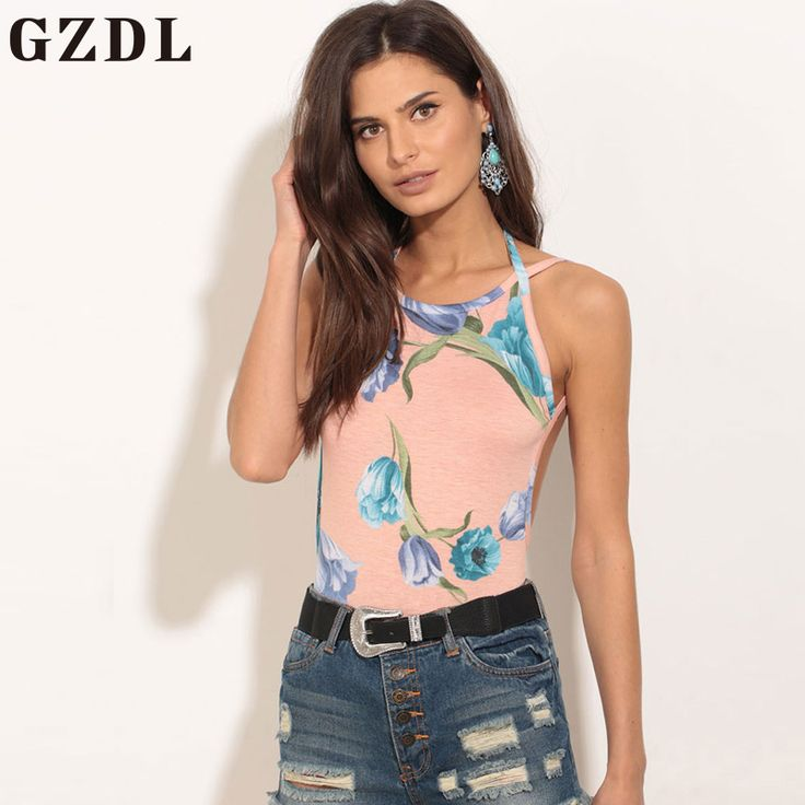 GZDL Causal Floral Print Camisole Summer Sleeveless Pink Tank Top Tees Sexy Backless Beach Party Women Tops Female Cami CL3703
