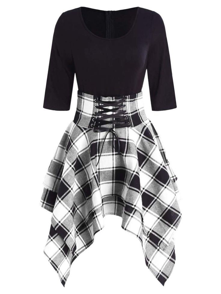 Lace Up Tartan Asymmetrical Dress – Clothes