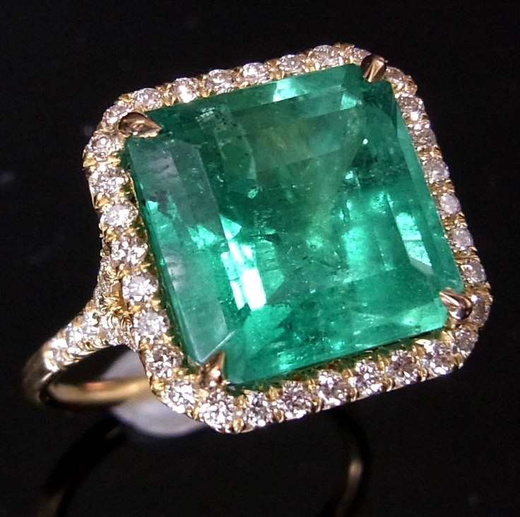 5.6ct Colombian Emerald Pave Set Diamonds 18k Gold Engagement or Cocktail Ring. $4,999.00, via Etsy.