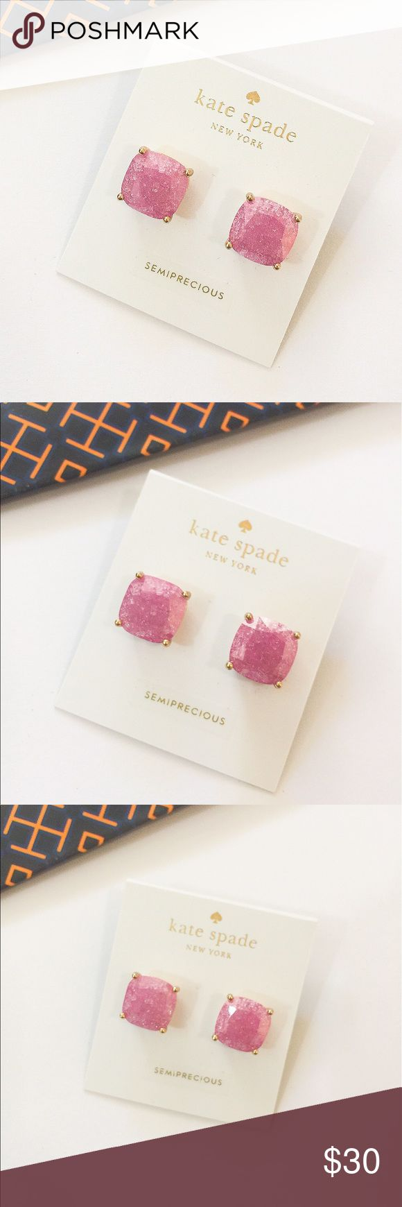 NWT Kate spade glitter square stud earrings Brand new with tag. Never worn. 100% authentic. Color: glitter light pink. ❌no trade ❌no lowballing offers!!! kate spade Jewelry Earrings