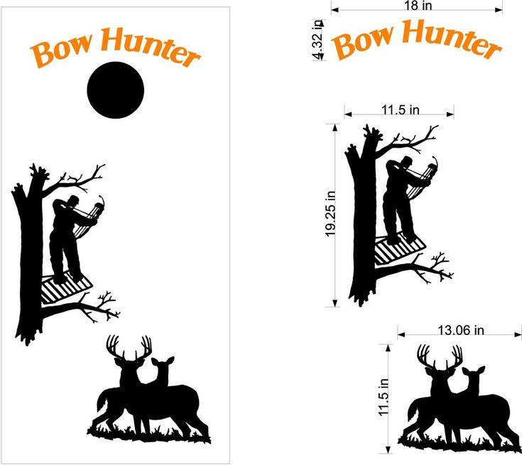 Bow Hunting Deer Buck Cornhole Board Vinyl Decal Sticker Graphic Bean Bag Toss