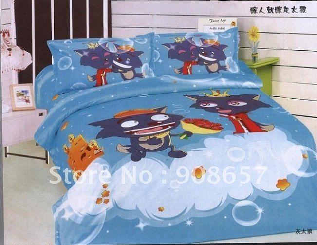 Качество хлопок синий серый волк мультфильм узор на дети народной малыша одеяло одеяло футляр с листов домашний текстиль