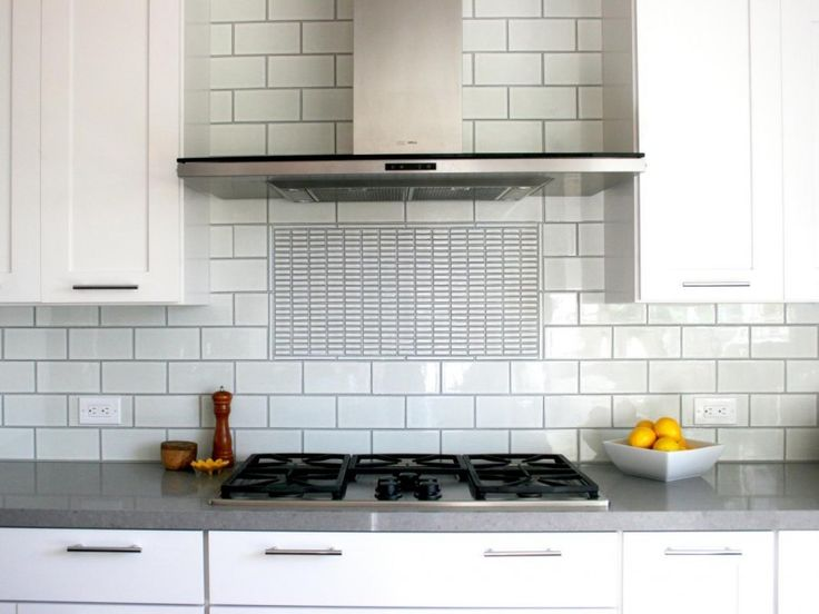 Ceramic Countertop Stove : Cabinets Grey Countertop White Backsplash Tile Gas Stove Silver Stove ...