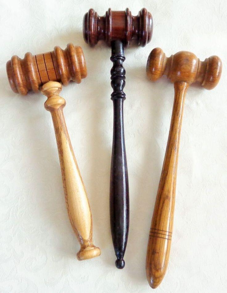 Antique Judges Gavel Lot Oak Mahogany Wood Hand Tooled Auctioneer Meeting Hammer