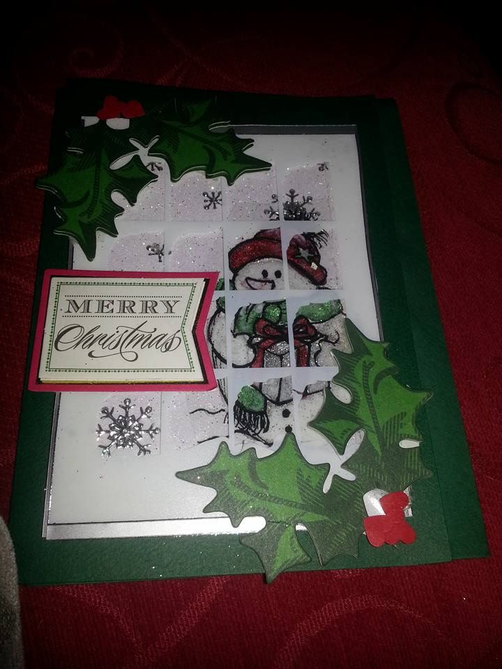 christmas window card , lots of glitter and acetate finished off with holly and a sentiment