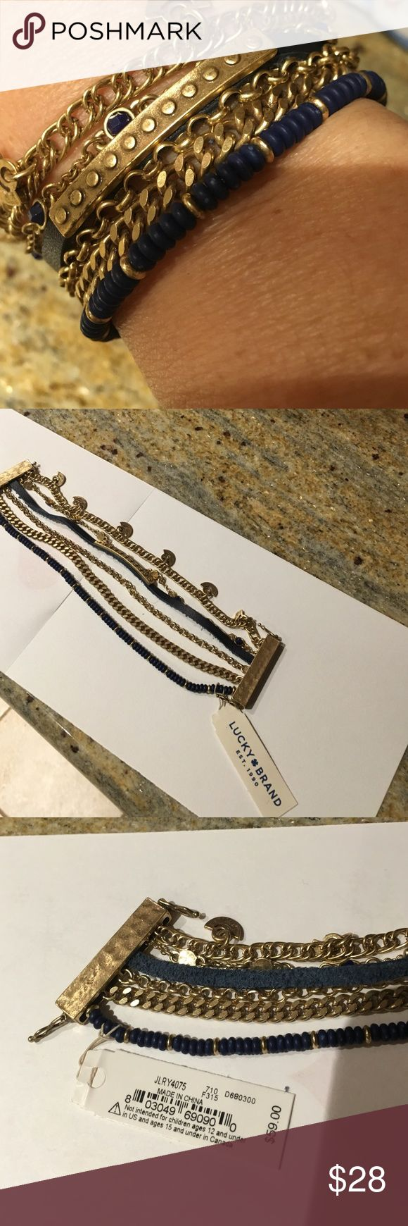 Lucky brand multi strand bracelet blue and gold Lucky brand Lucky Layers multi strand bracelet with magnetic closures and two safety  latches. Colors are gold tone and blue beads with blue leather and little blue glass stones. New with tag. Nice gift that will look great with jeans casual and funky Lucky Brand Jewelry Bracelets