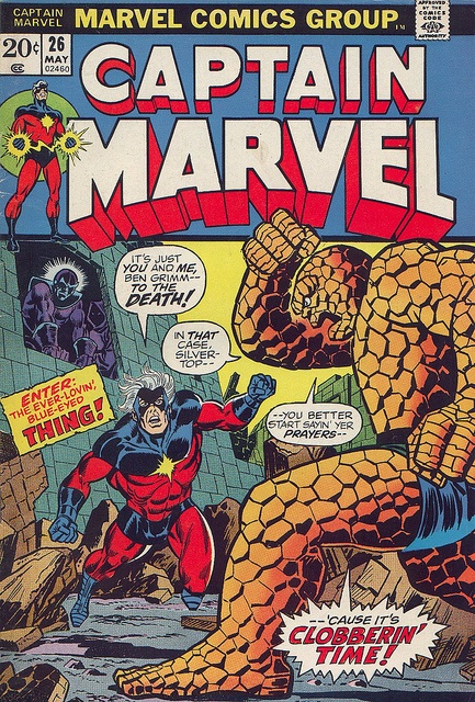 Captain Marvel 26 with the Thing by Jim Starlin by giantsizegeek, via Flickr. Look; little, lurking Thanos.