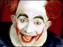 """Hospital clown images 'too scary'  Clown Some children think that clowns are """"frightening and unknowable"""" Decorating children's wards with paintings of clowns to create a nurturing atmosphere could backfire, research suggests."""