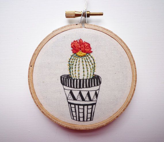 Modern embroidery cactus inch hoop art stitches