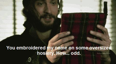 "Crane's first Christmas, when he was given the magic of a stocking. | 19 Times Ichabod Crane Was Adorably Clueless On ""Sleepy Hollow"""