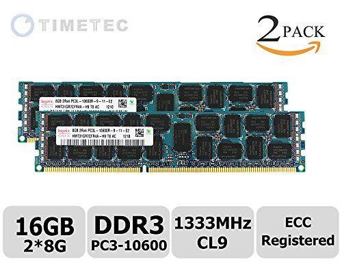 timetec hynix 16gb kit 2x8gb ddr3l 1333mhz pc3 10600 registered ecc 135v