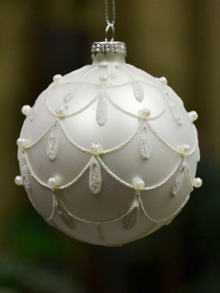 674 best ornament 103 images on pinterest christmas balls white matt glass ball bauble painted christmas tree ornament w9 ebay aloadofball Gallery