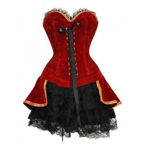 A3343 - Red Velvet Renaissance Outfit - Corset dresses - Fashion Corsets
