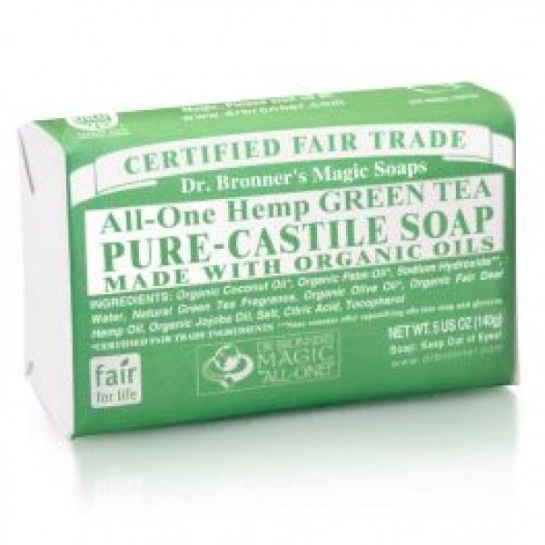 Dr. Bronner's Green Tea Castile Bar Soap fights blemishes and reduces redness while gently cleansing the skin.