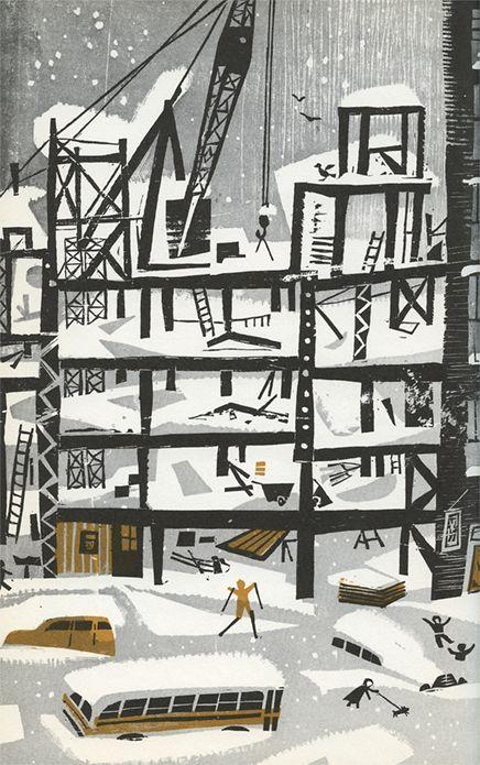 Mid-century winter illustration 50s illustration style