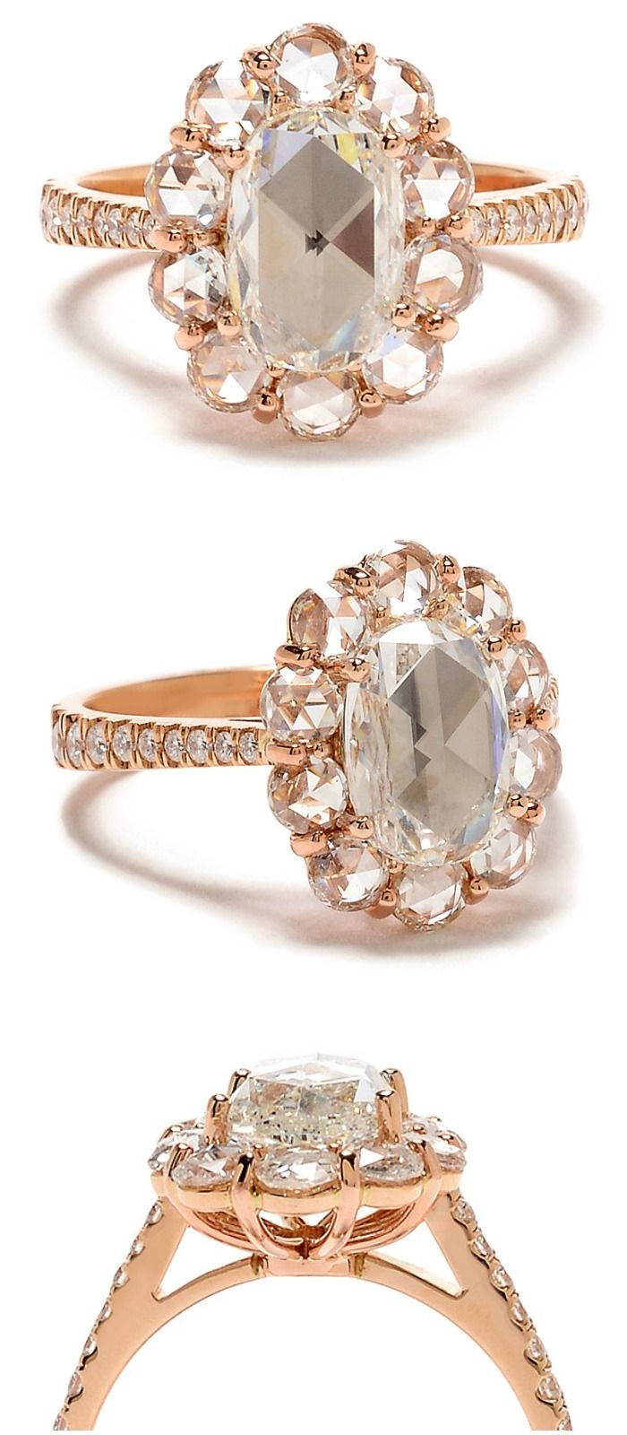 Greenwich St. Collection Rose-Cut Diamond Halo Ring